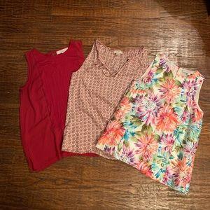 Bundle of LOFT sleeveless blouses
